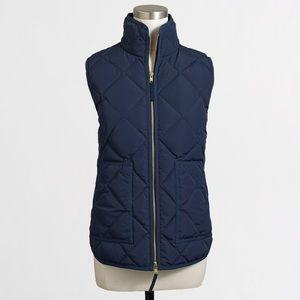 J. Crew Factory Navy Down Quilted Puffer Vest